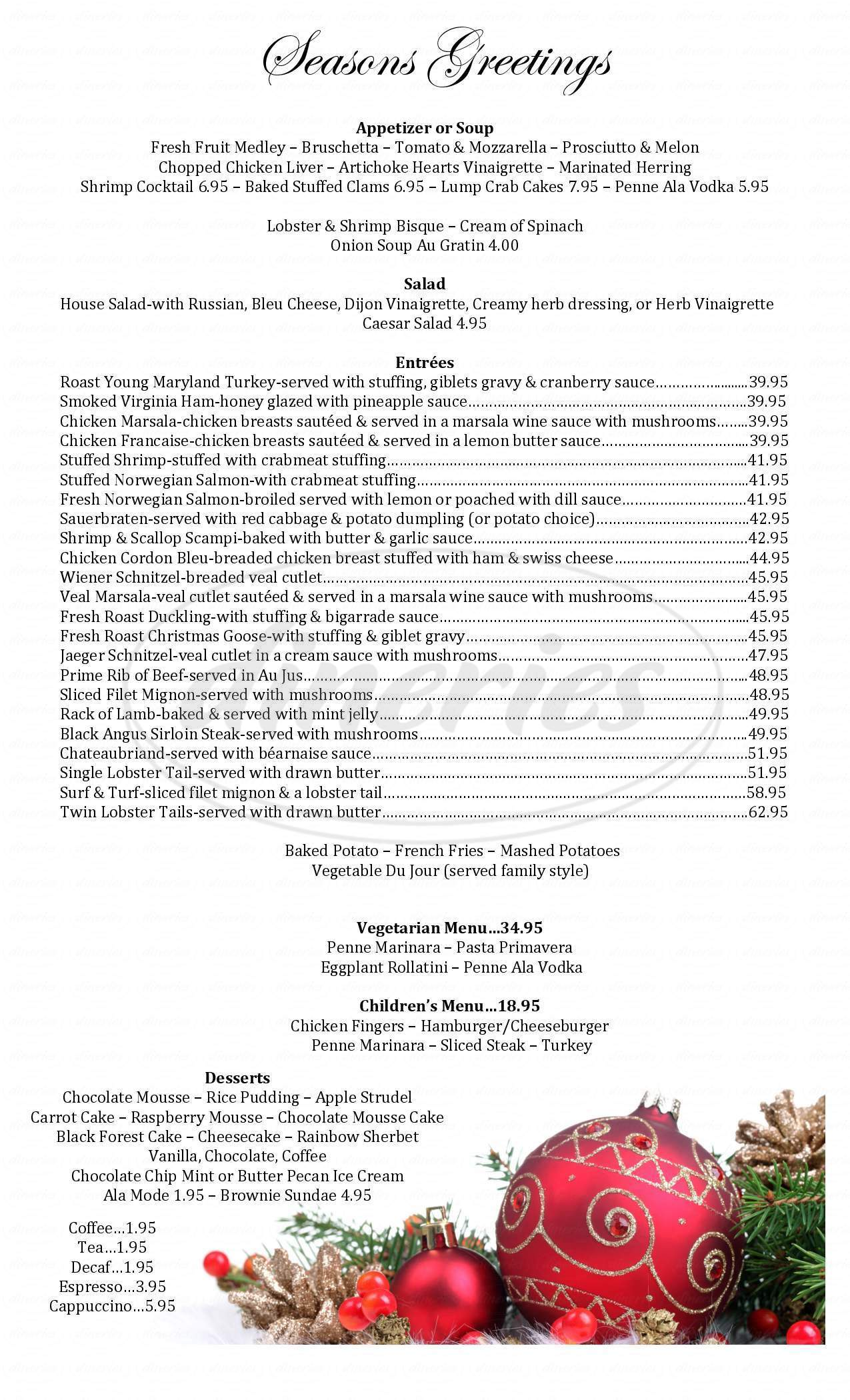 menu for Travelers Rest