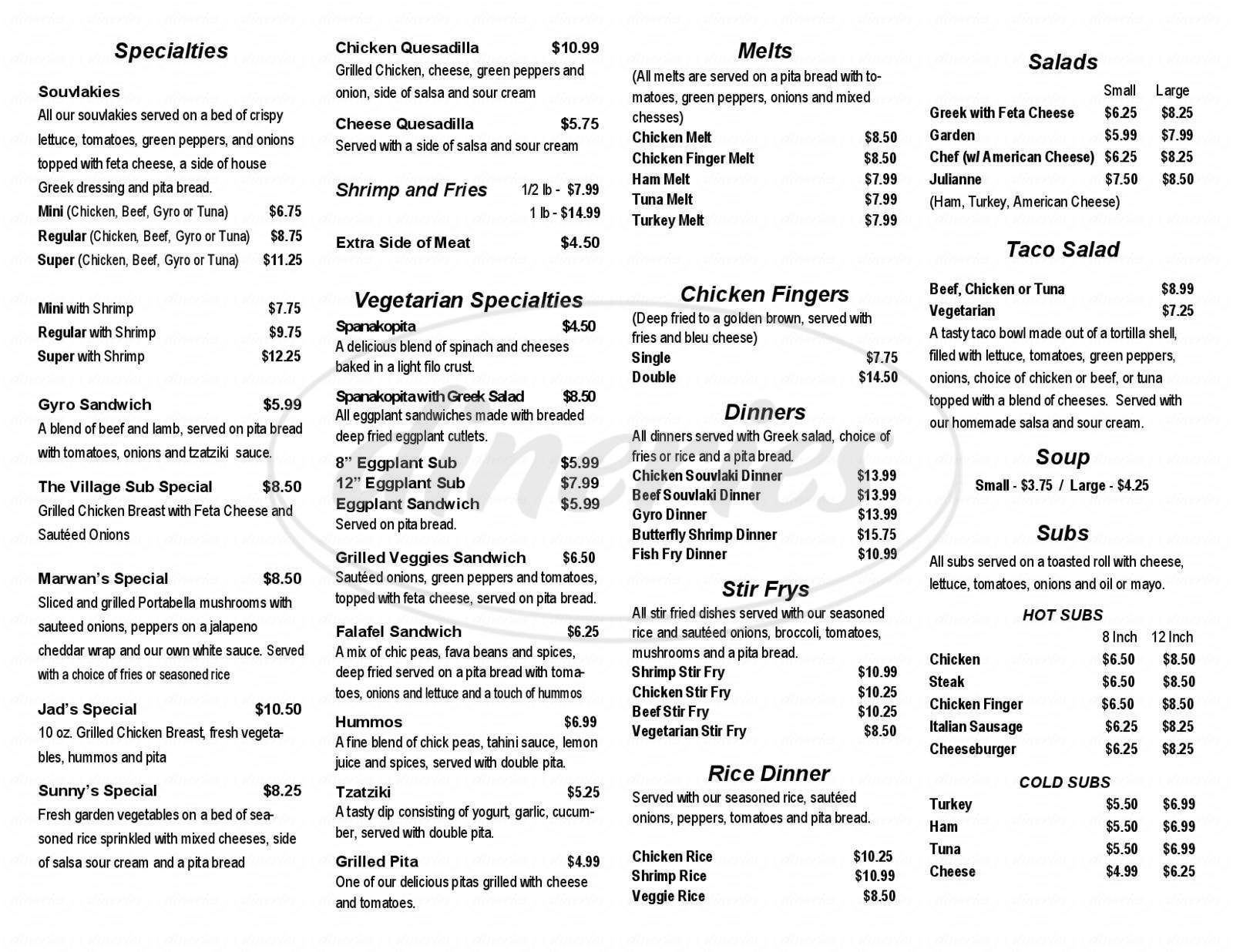 menu for The Village Grille