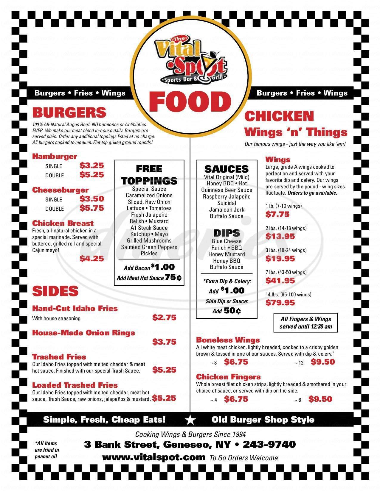 menu for Vital Spot