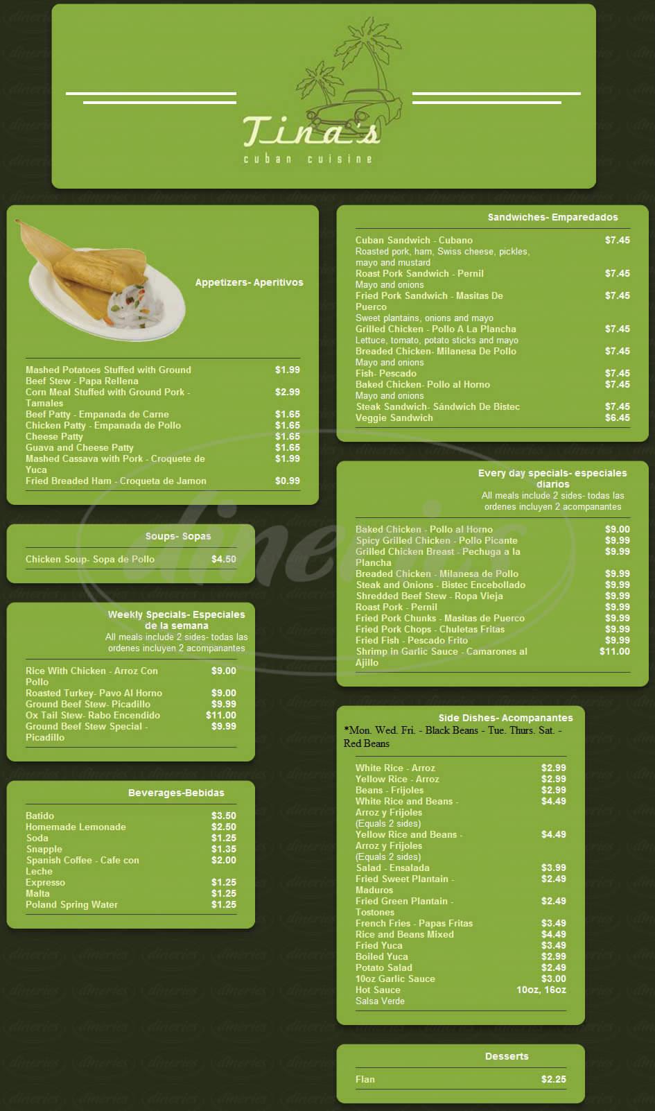 menu for Tina's Cuban Cuisine