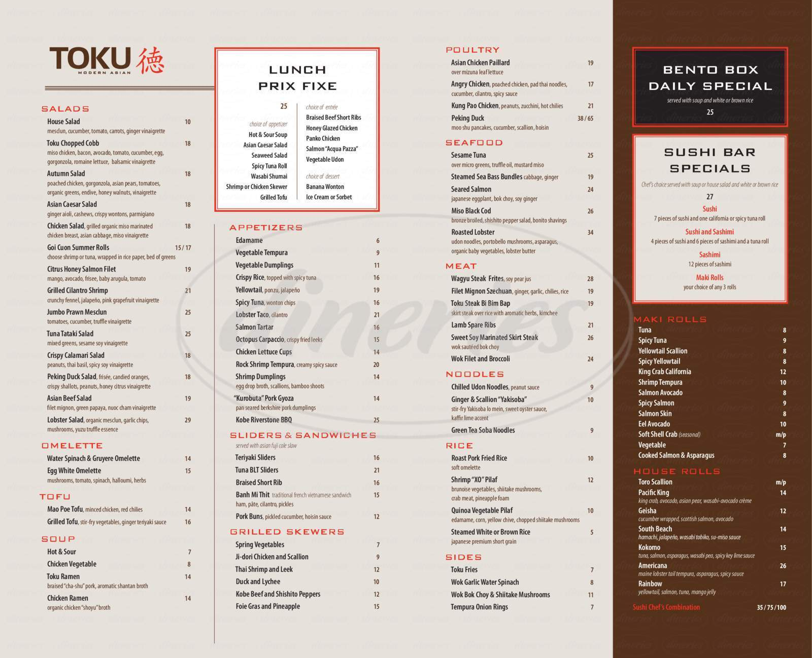 menu for Toku Modern Asian