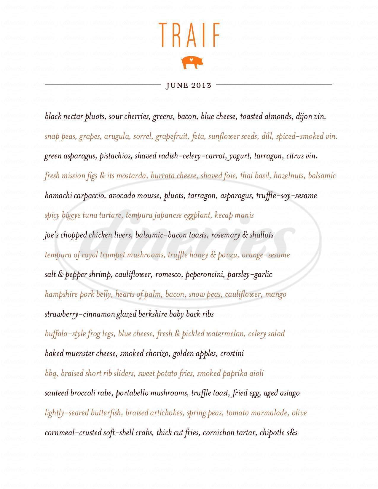menu for Trail's End Restaurant