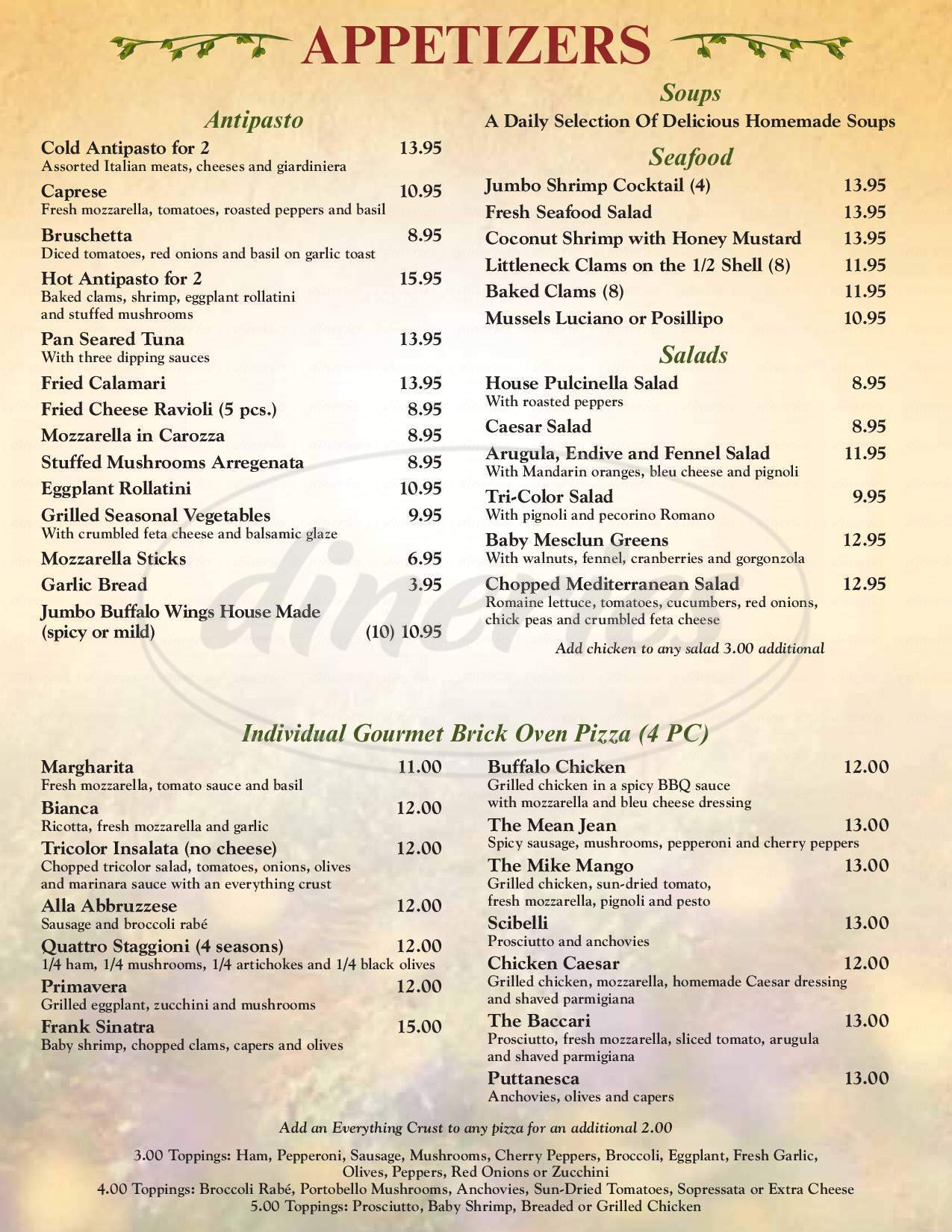 menu for Trattoria Lucia Corporation