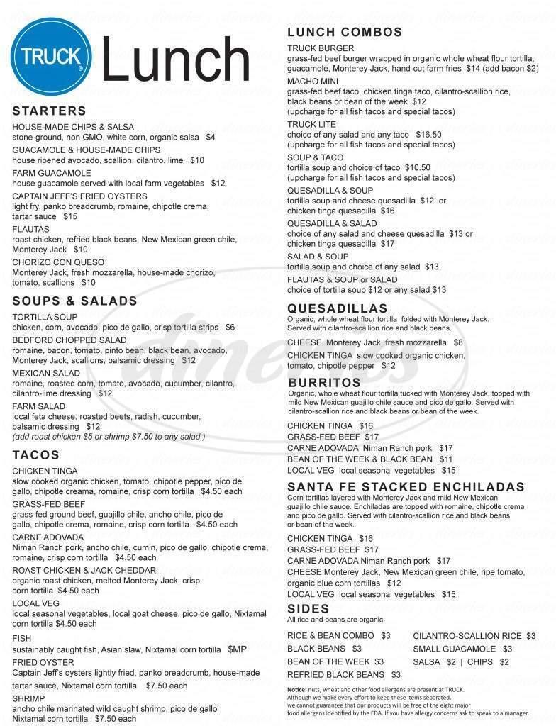 menu for TRUCK