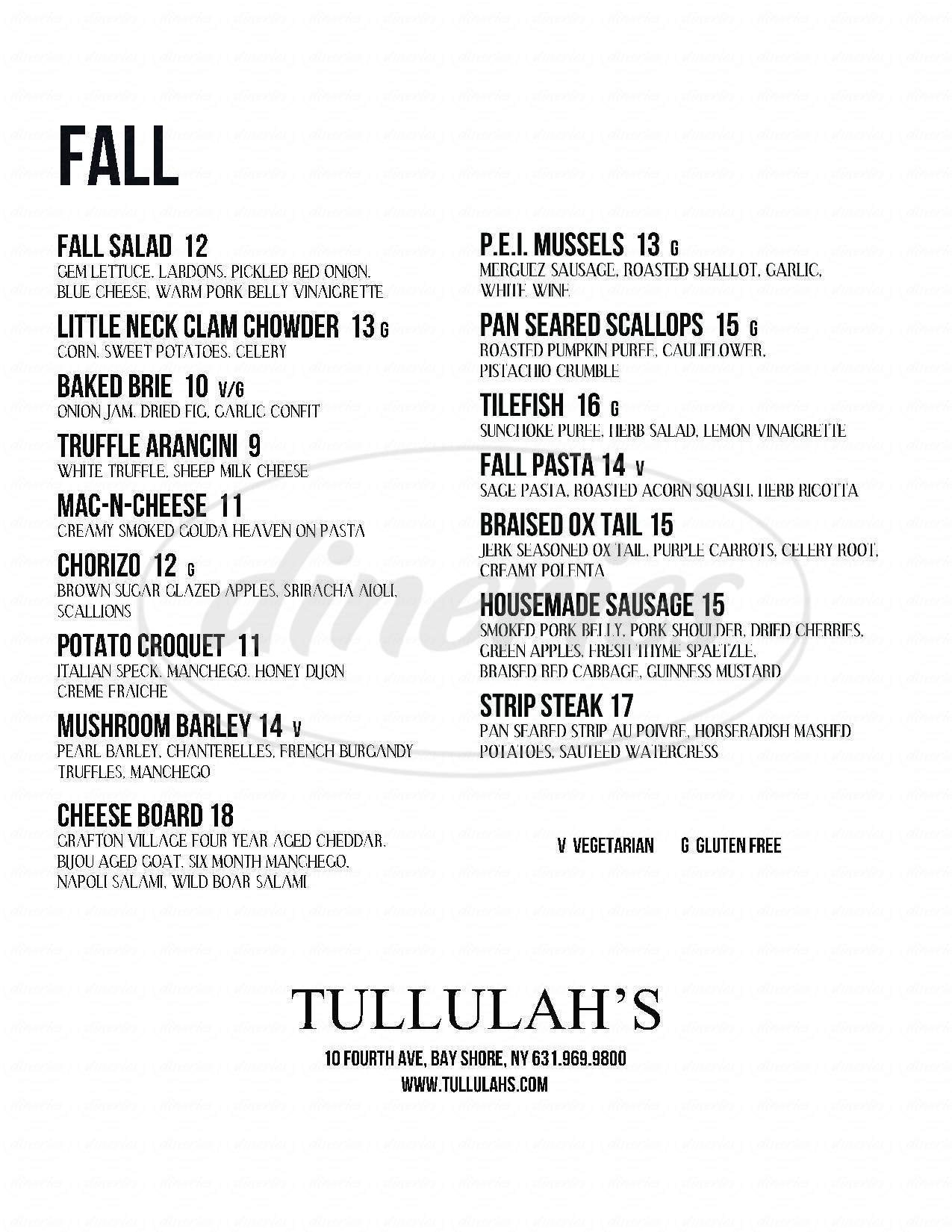 menu for Tullulah's