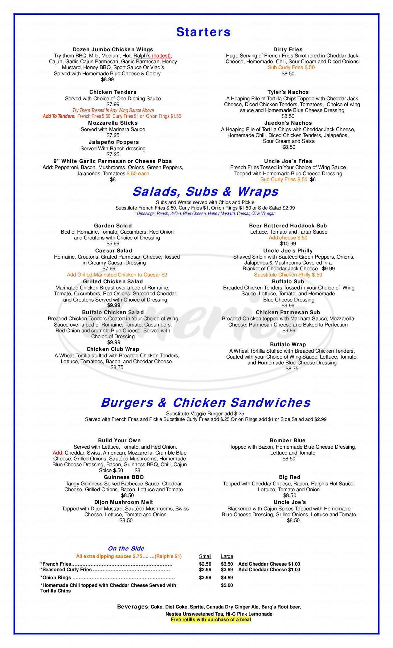 menu for Uncle Joe's