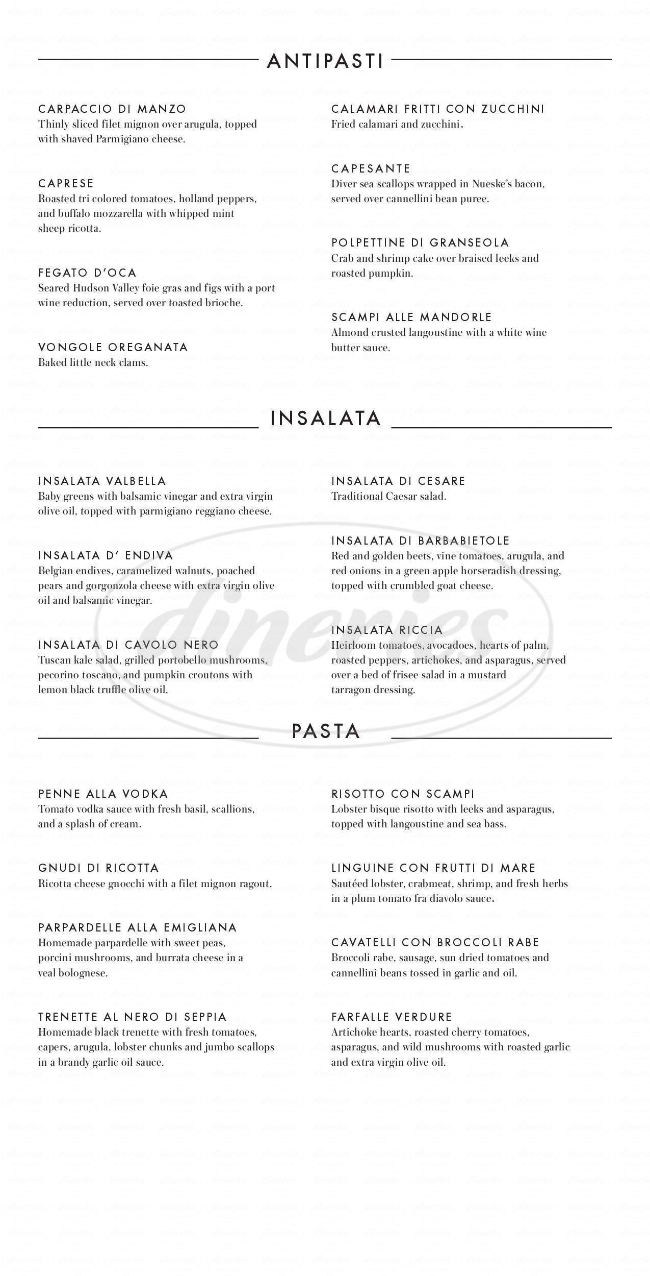 menu for Valente's Restaurant