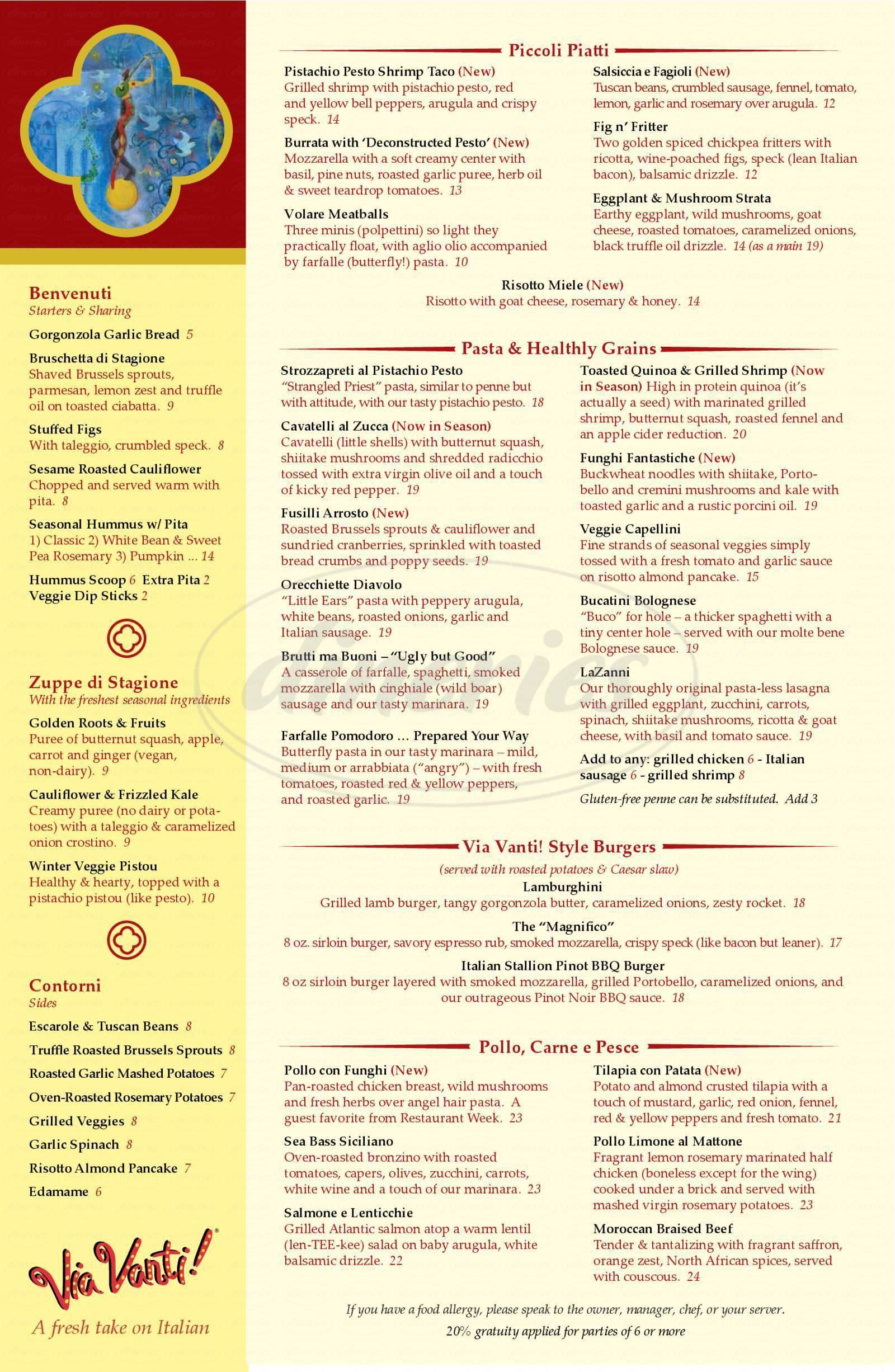 menu for Via Vanti!