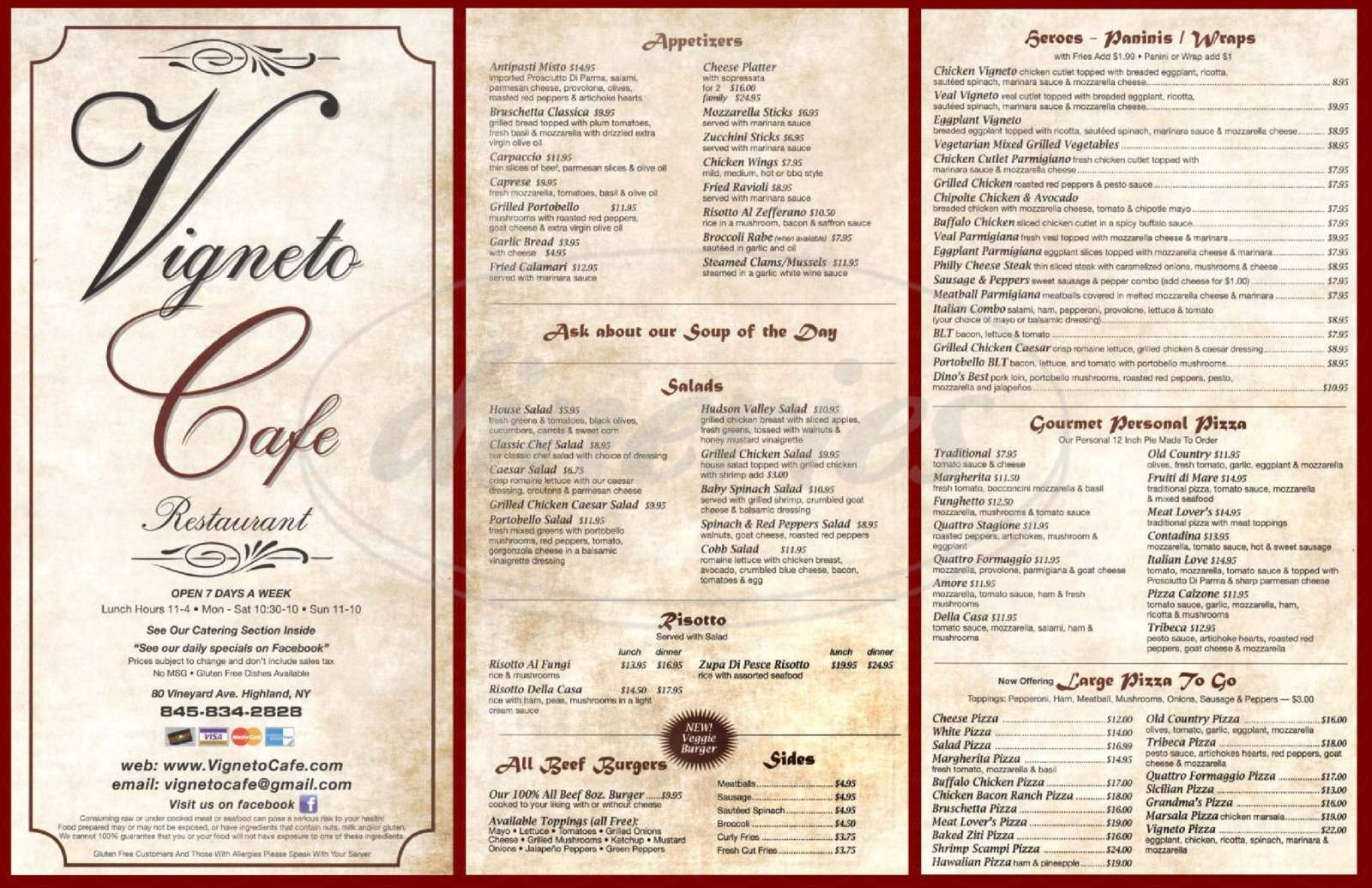 menu for Vigneto Cafe