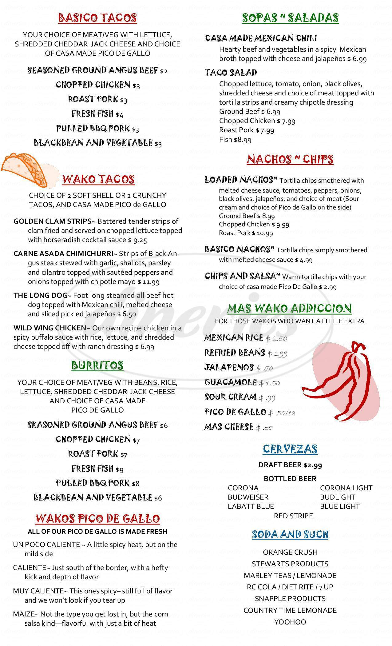 menu for Waco Taco