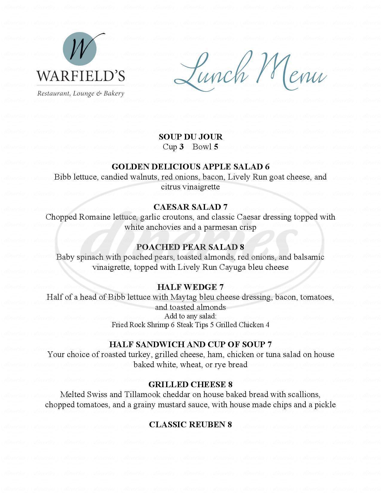 menu for Warfield's Restaurant