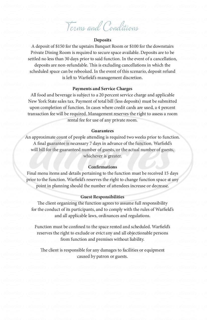 menu for Warfield's Restaurant