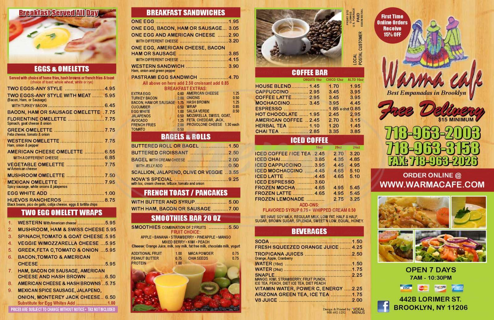 menu for Warma Cafe