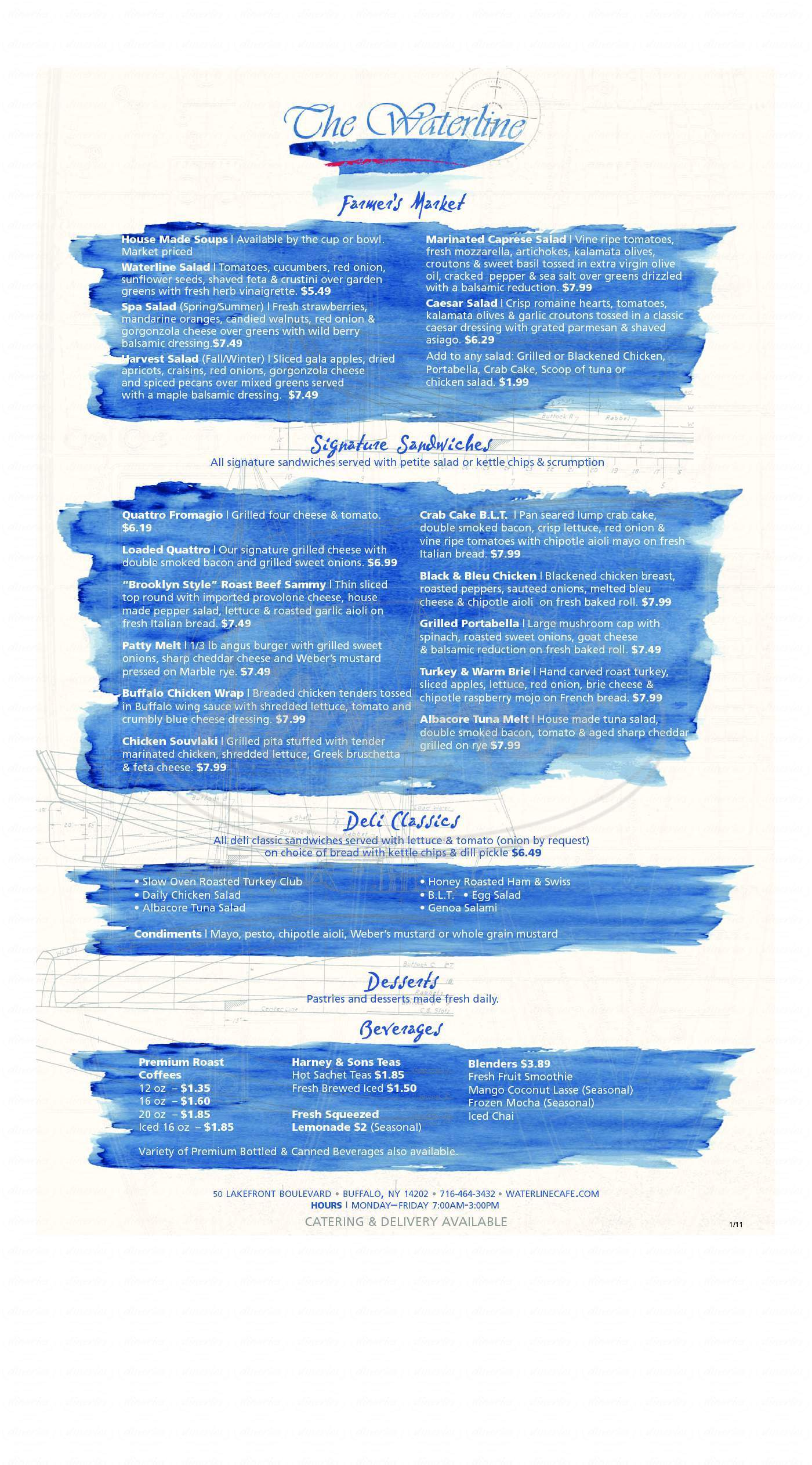 menu for Waterline Cafe