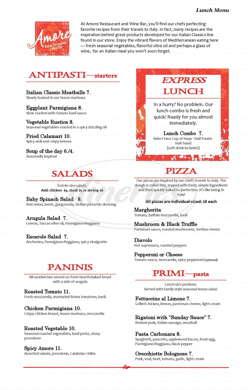 menu for Amore By Wegmans