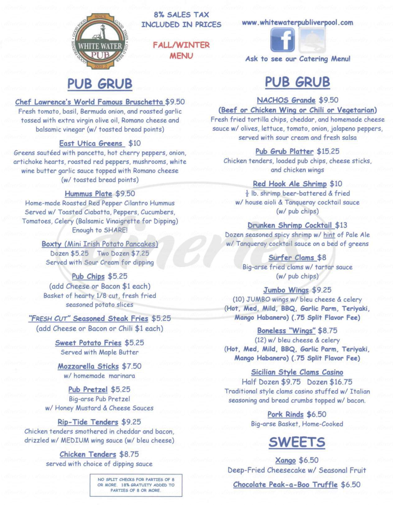 menu for White Water Pub