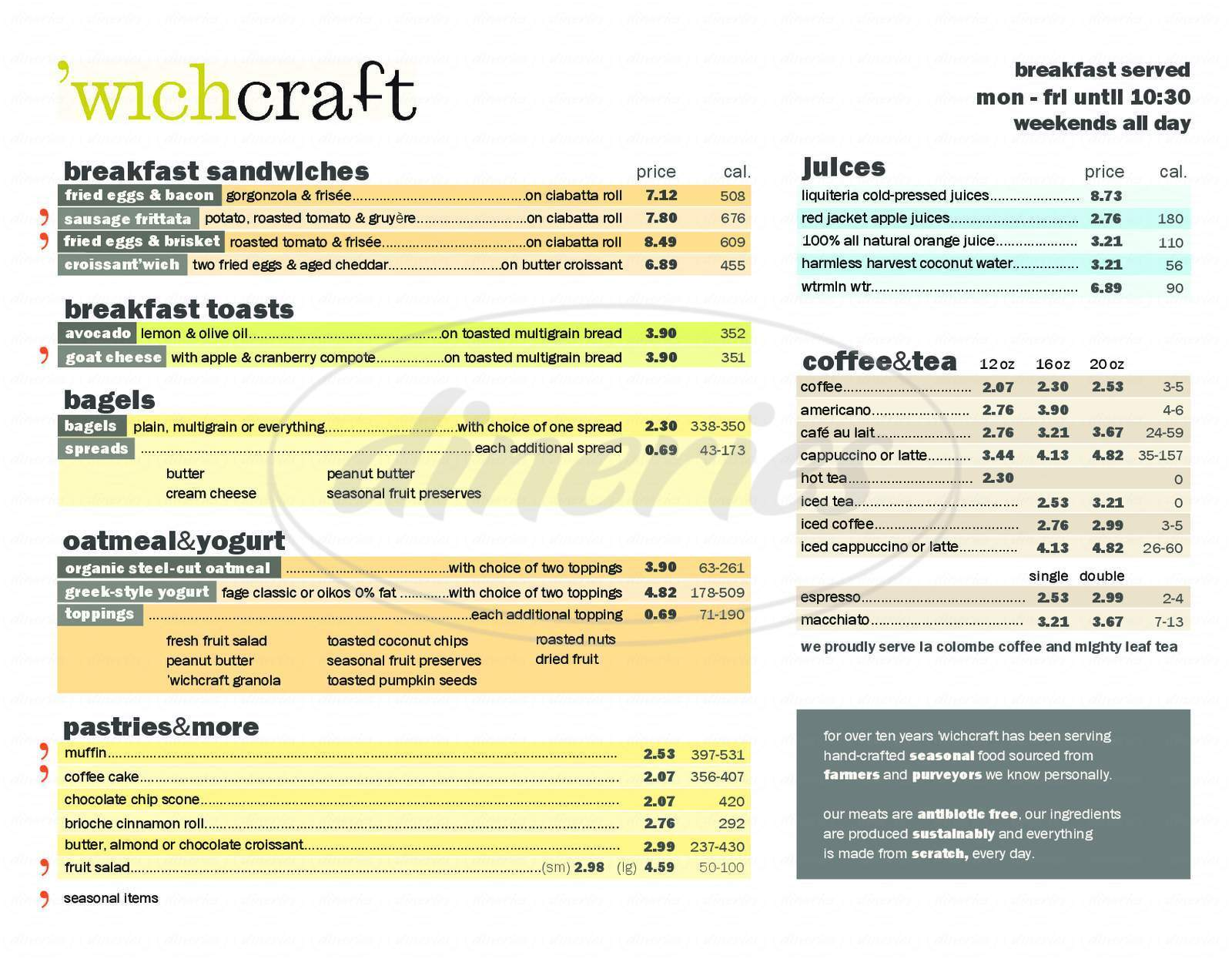 menu for Wichcraft