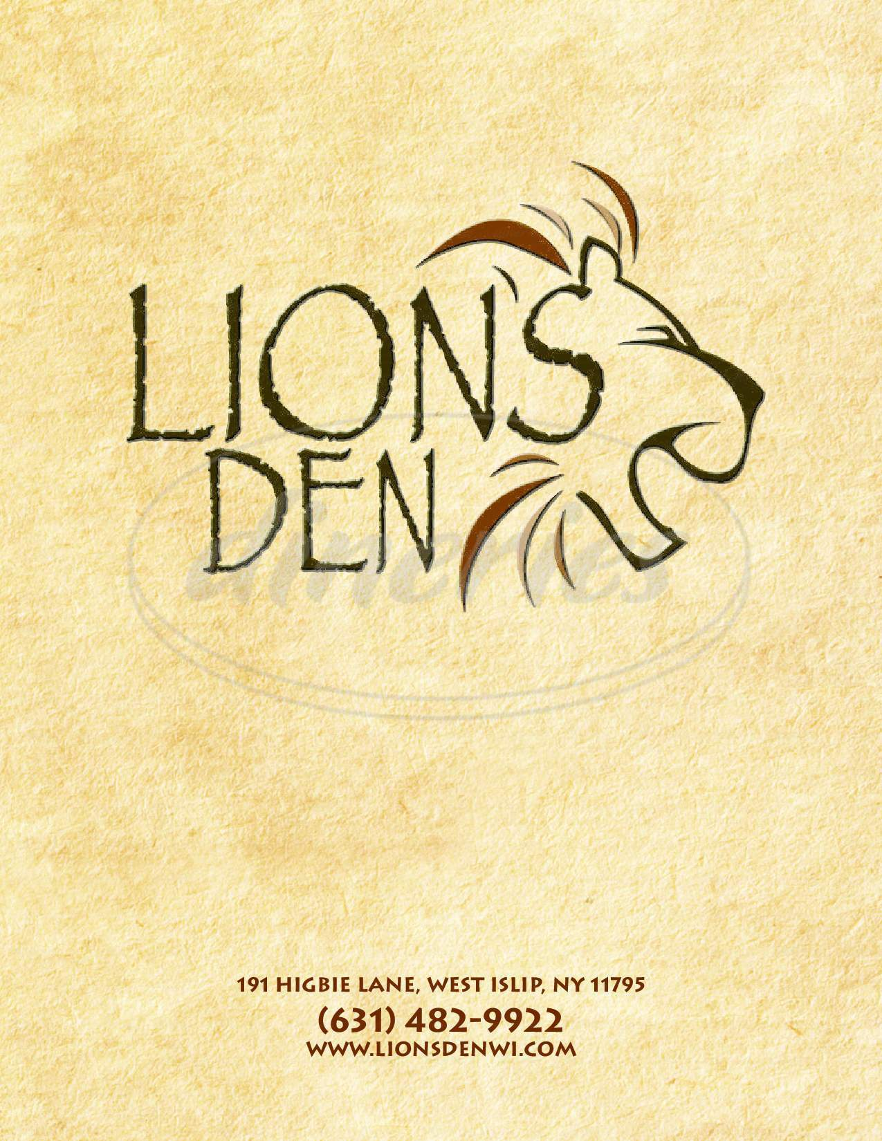 menu for The Lions Den