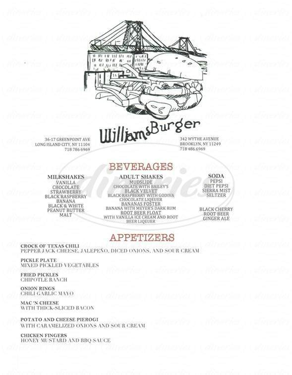 menu for WilliamsBurger