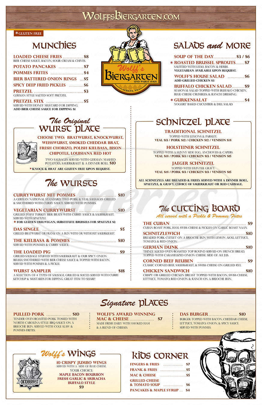 menu for Wolff's Biergarten