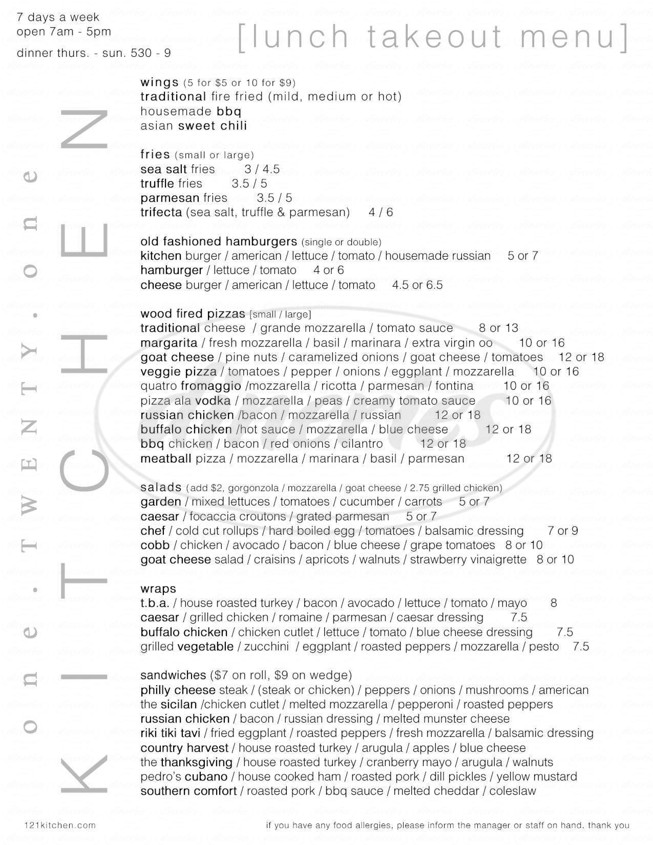 menu for 121 Kitchen
