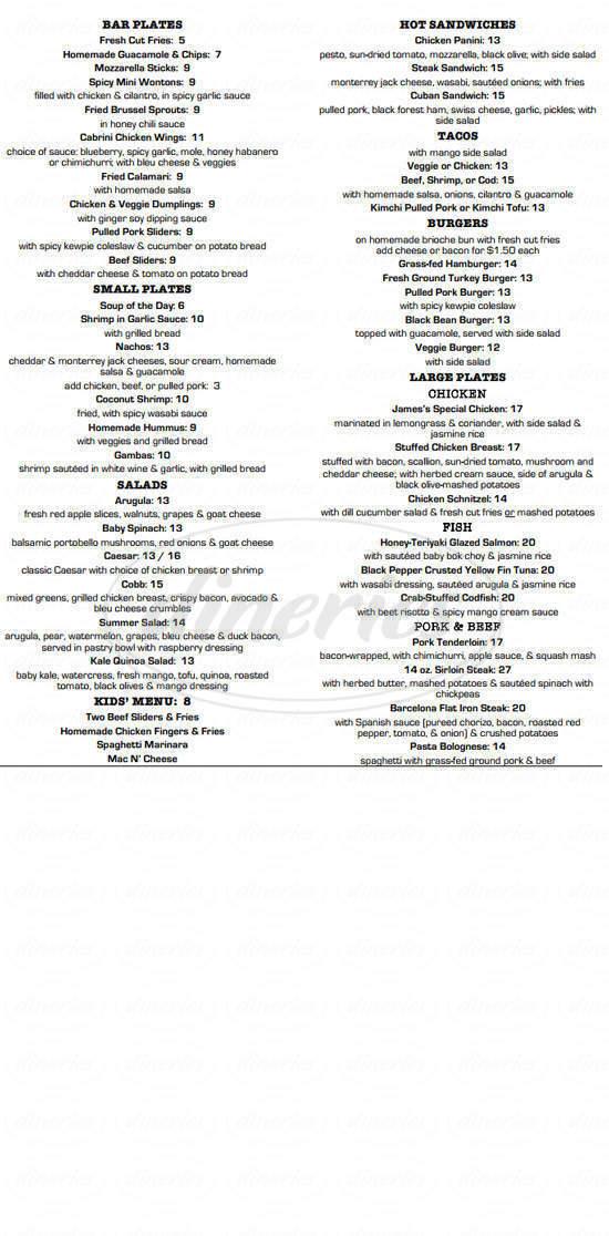menu for 181 Cabrini
