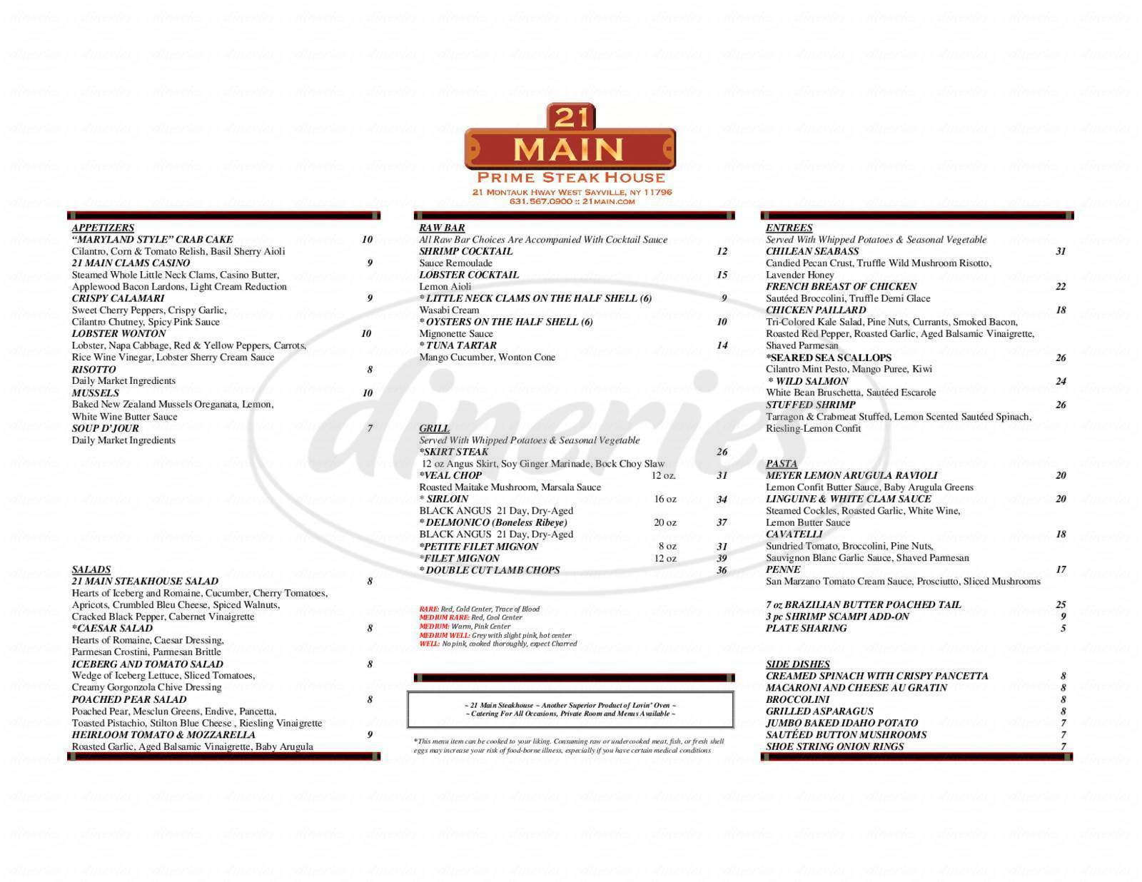 menu for 21 Main