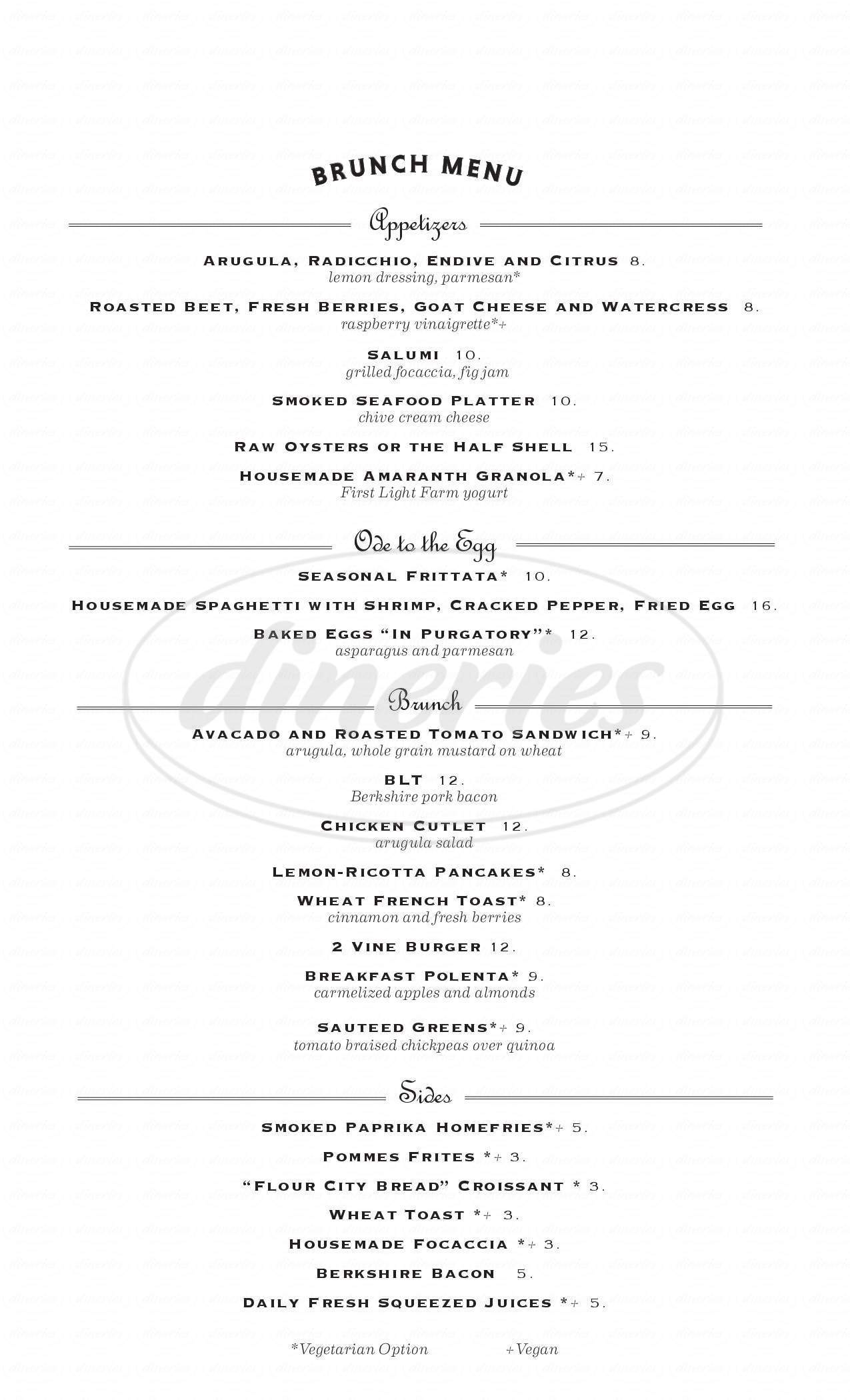 menu for Restaurant 2 Vine