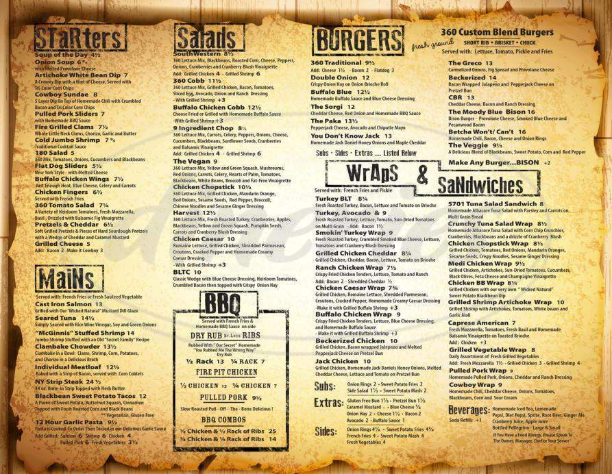 menu for 360 American Grille