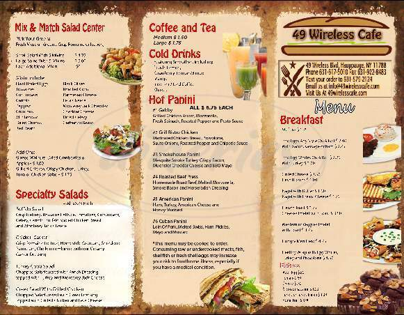 menu for Table 49 Cafe