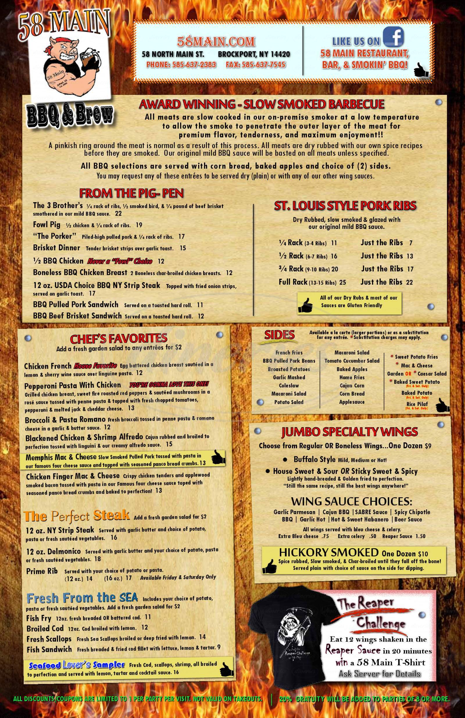 menu for 58 Main Restaurant & Party House