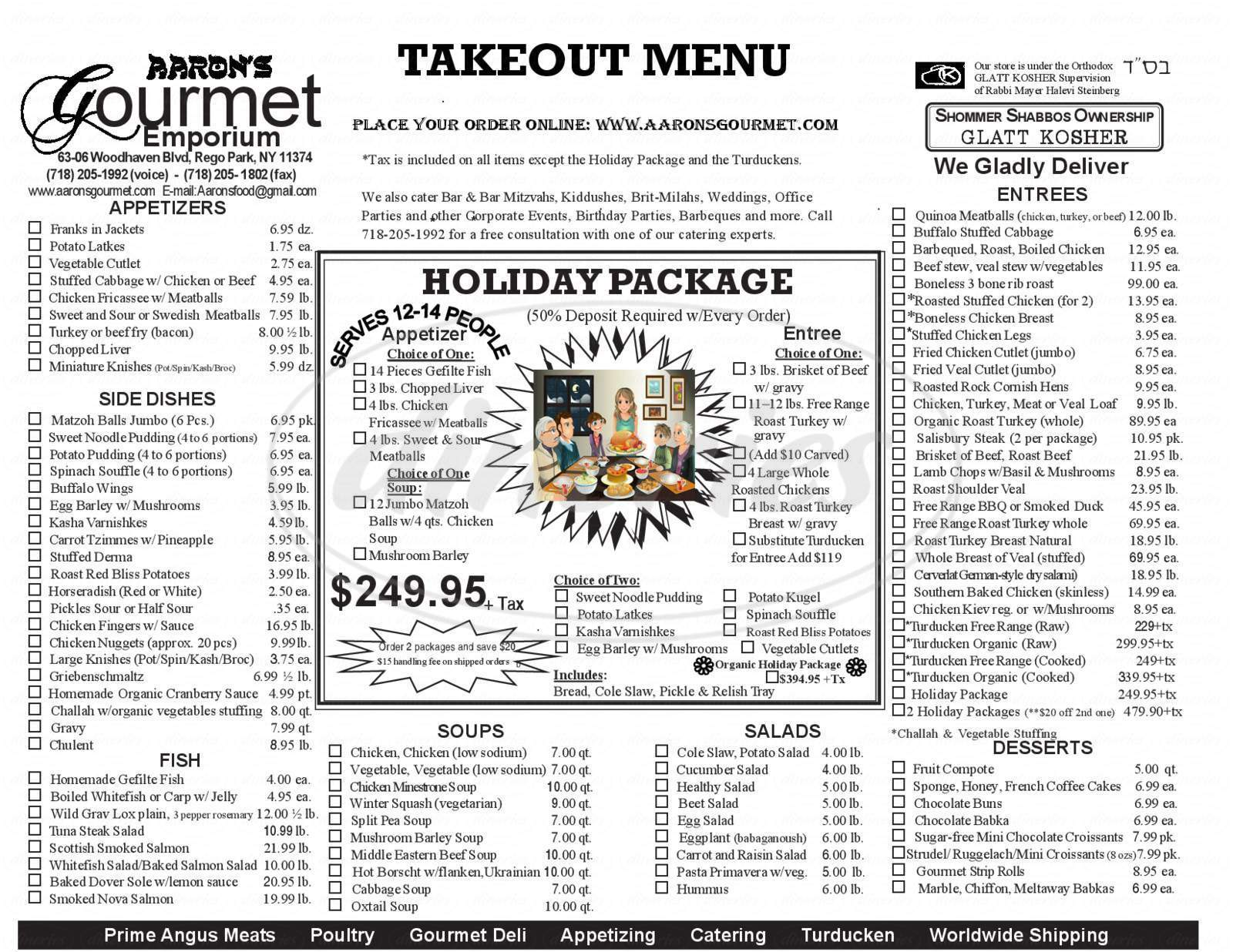menu for Aaron's Kosher Gourmet Emporium & Prime Meats