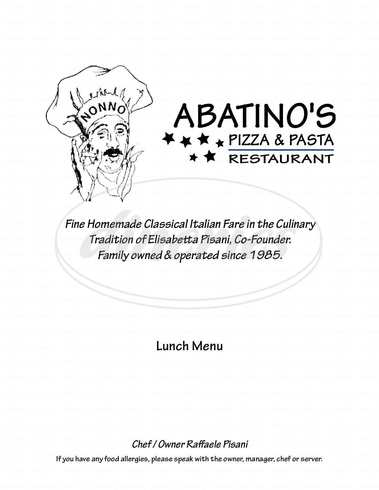 menu for Abatino's Pizza & Pasta