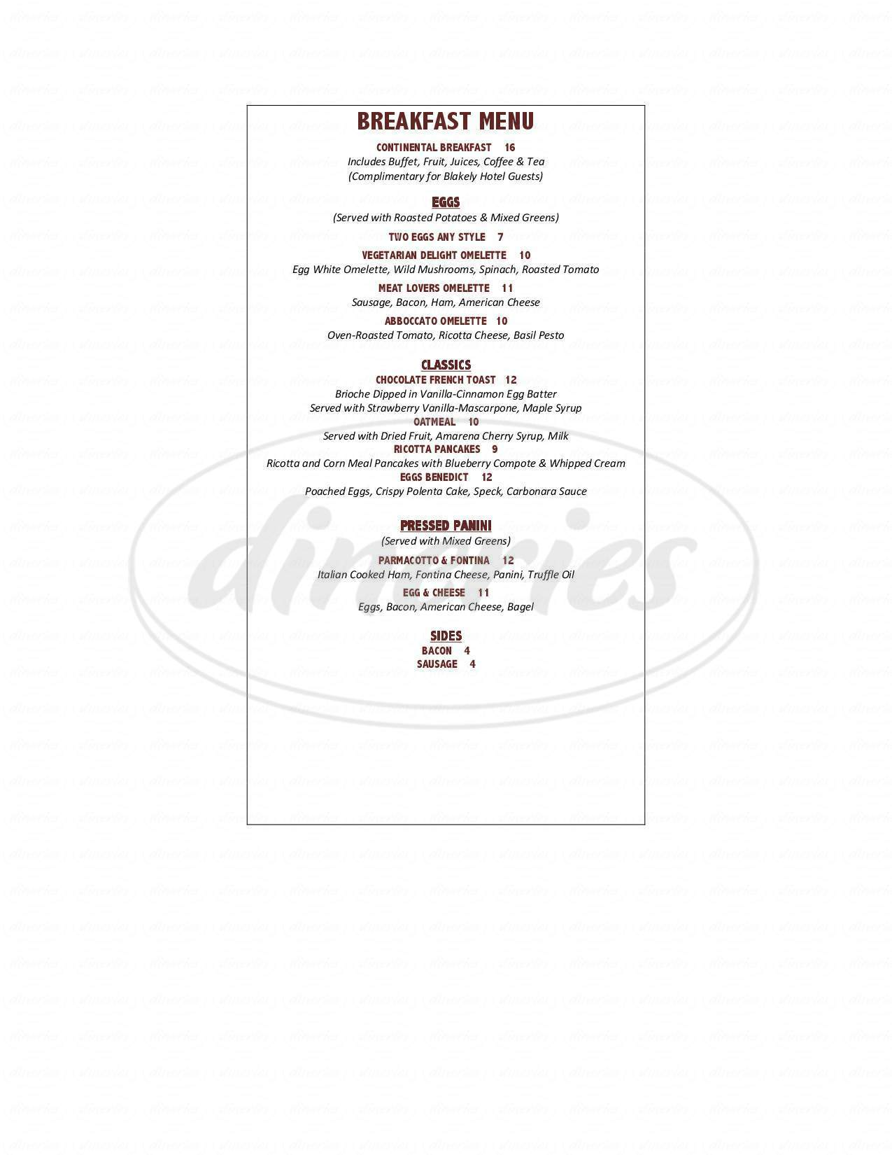 menu for Abboccato