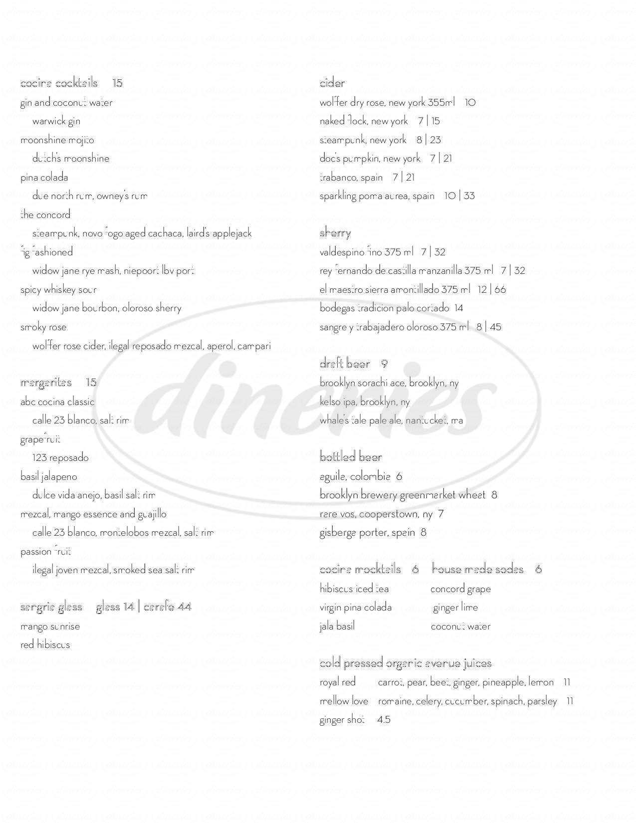 ABC Cocina Menu - New York - Dineries