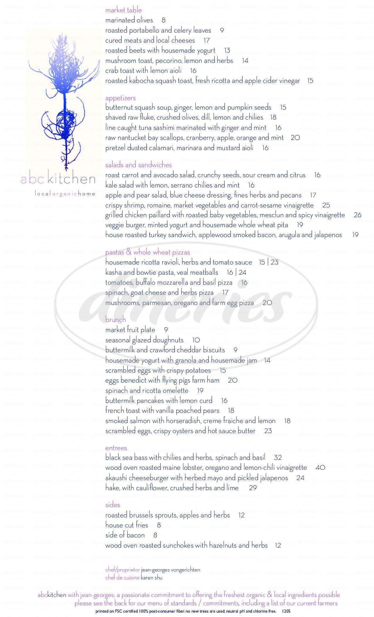 menu for ABC Kitchen