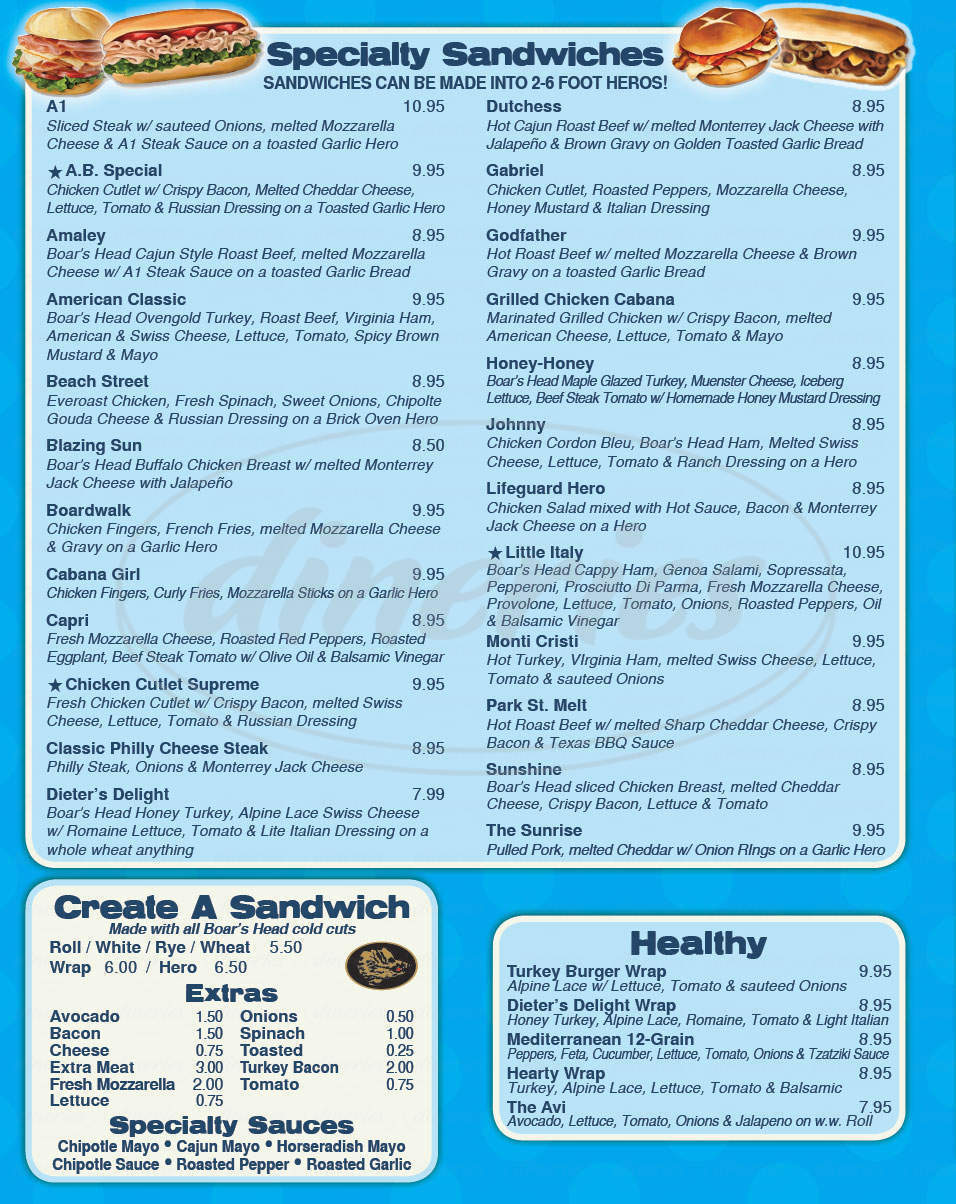 menu for Atlantic Beach Cafe Bagel & Deli