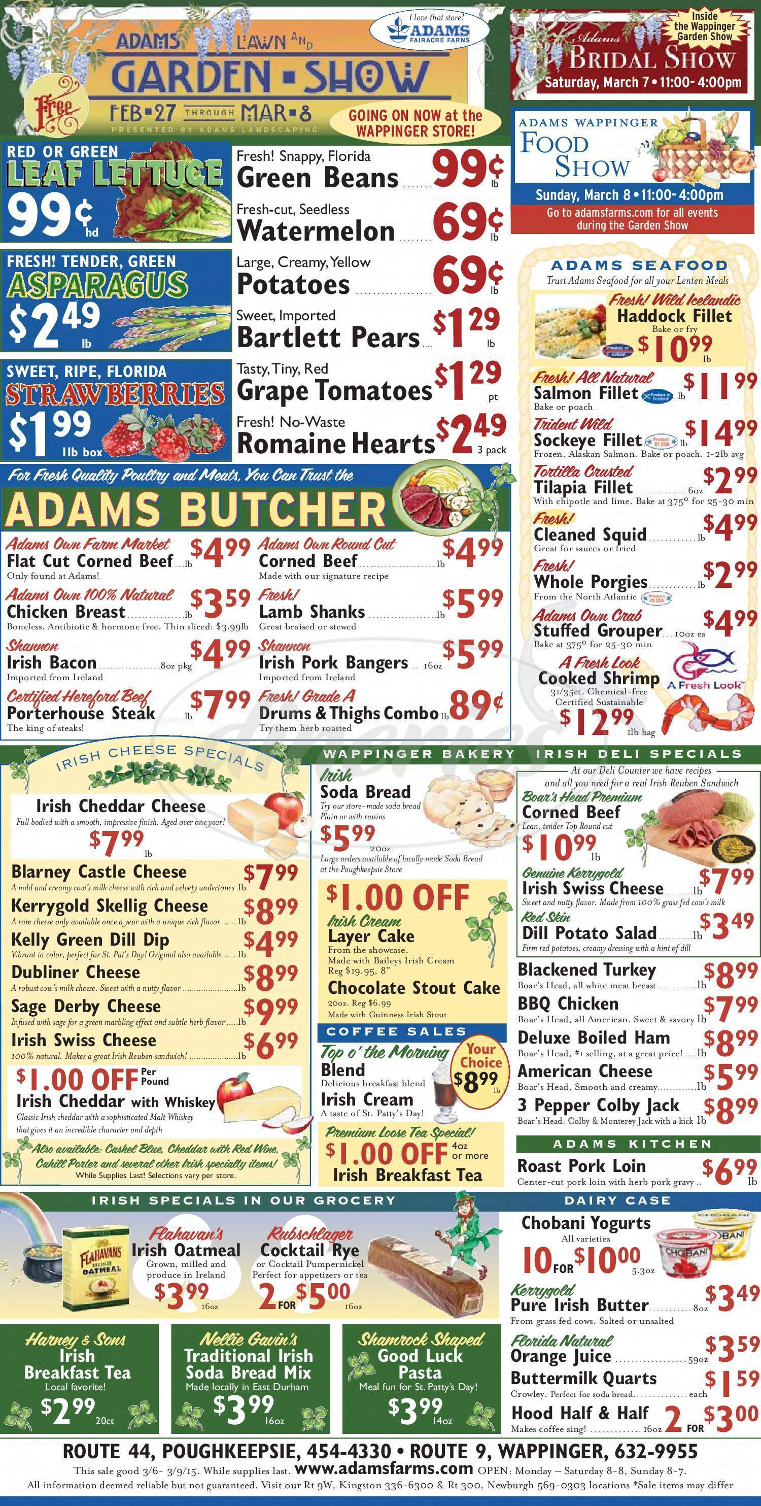 menu for Adams Cafe