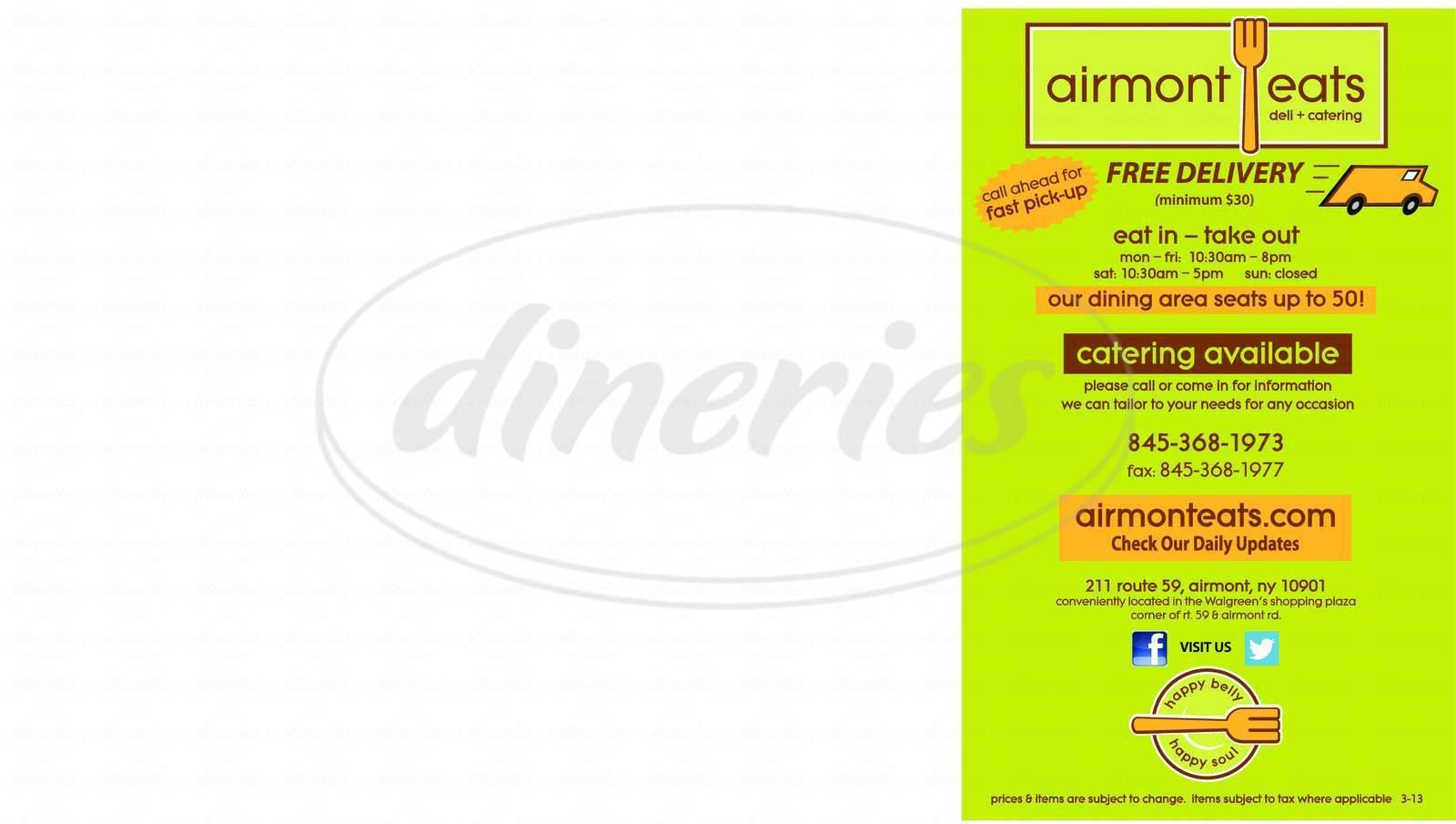 menu for Airmont Eats