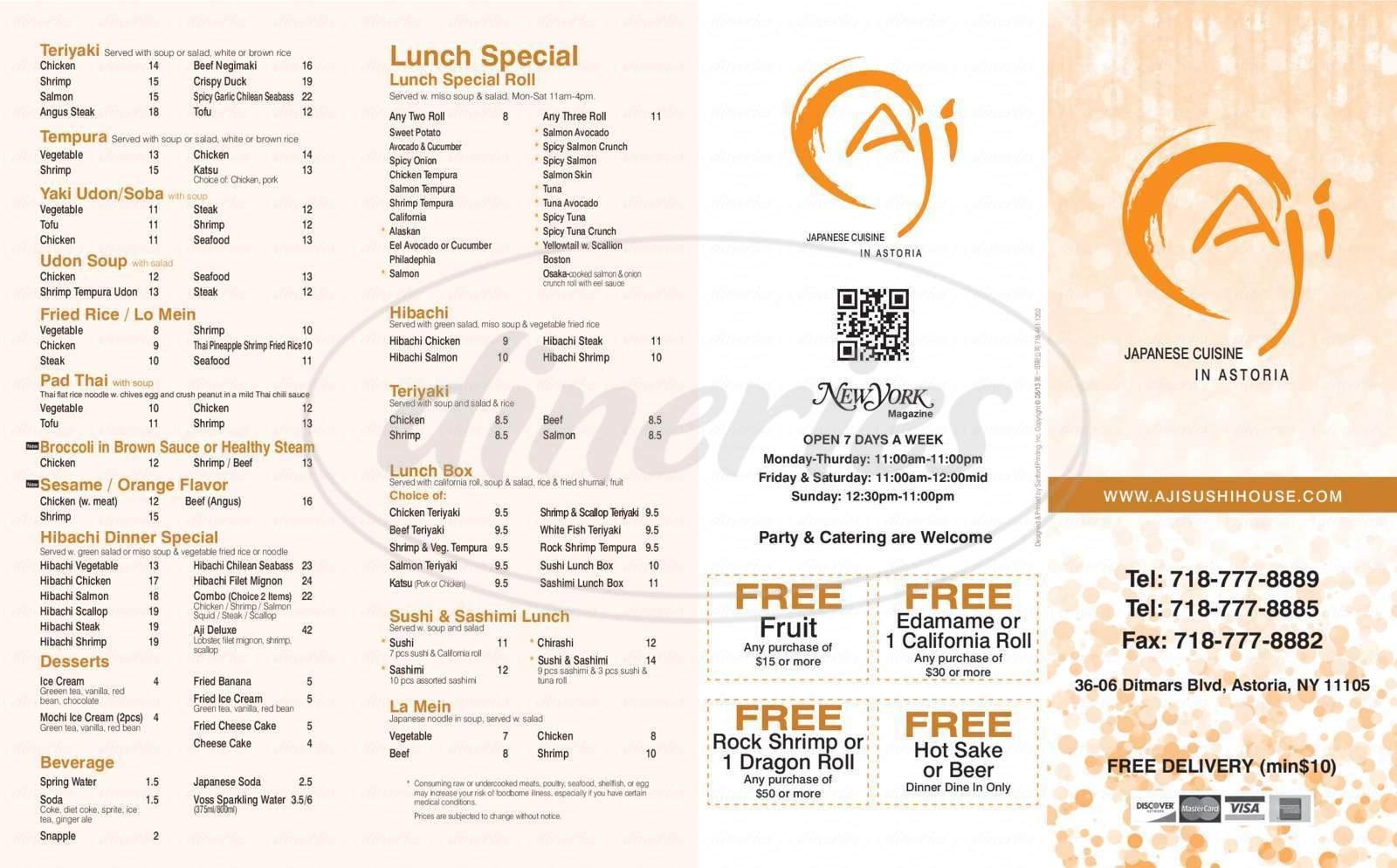 menu for Aji Sushi House