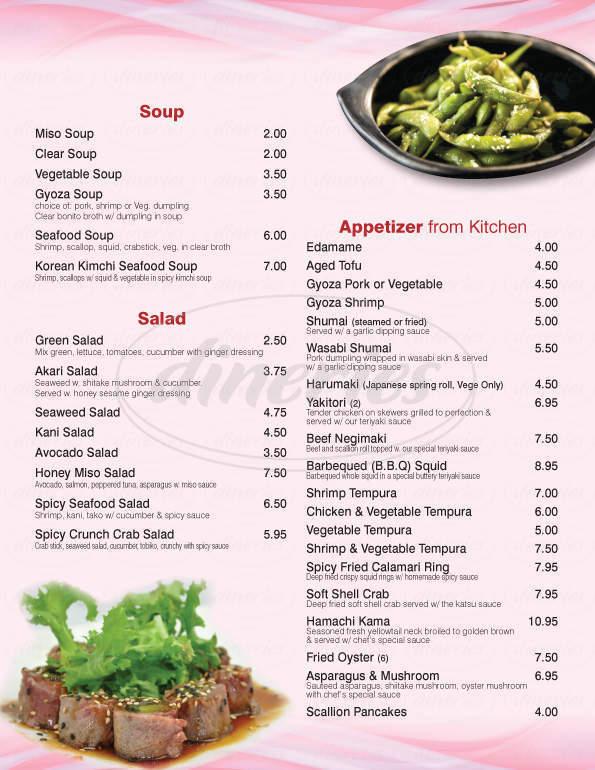 menu for Akari Sushi