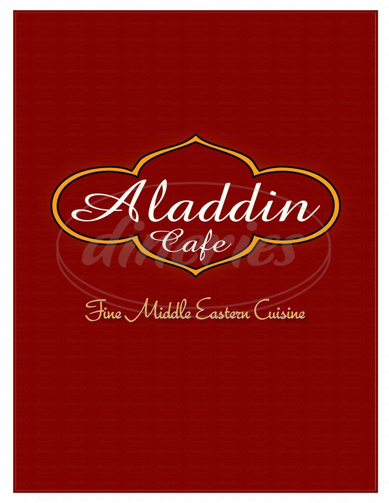 menu for Aladdin Cafe