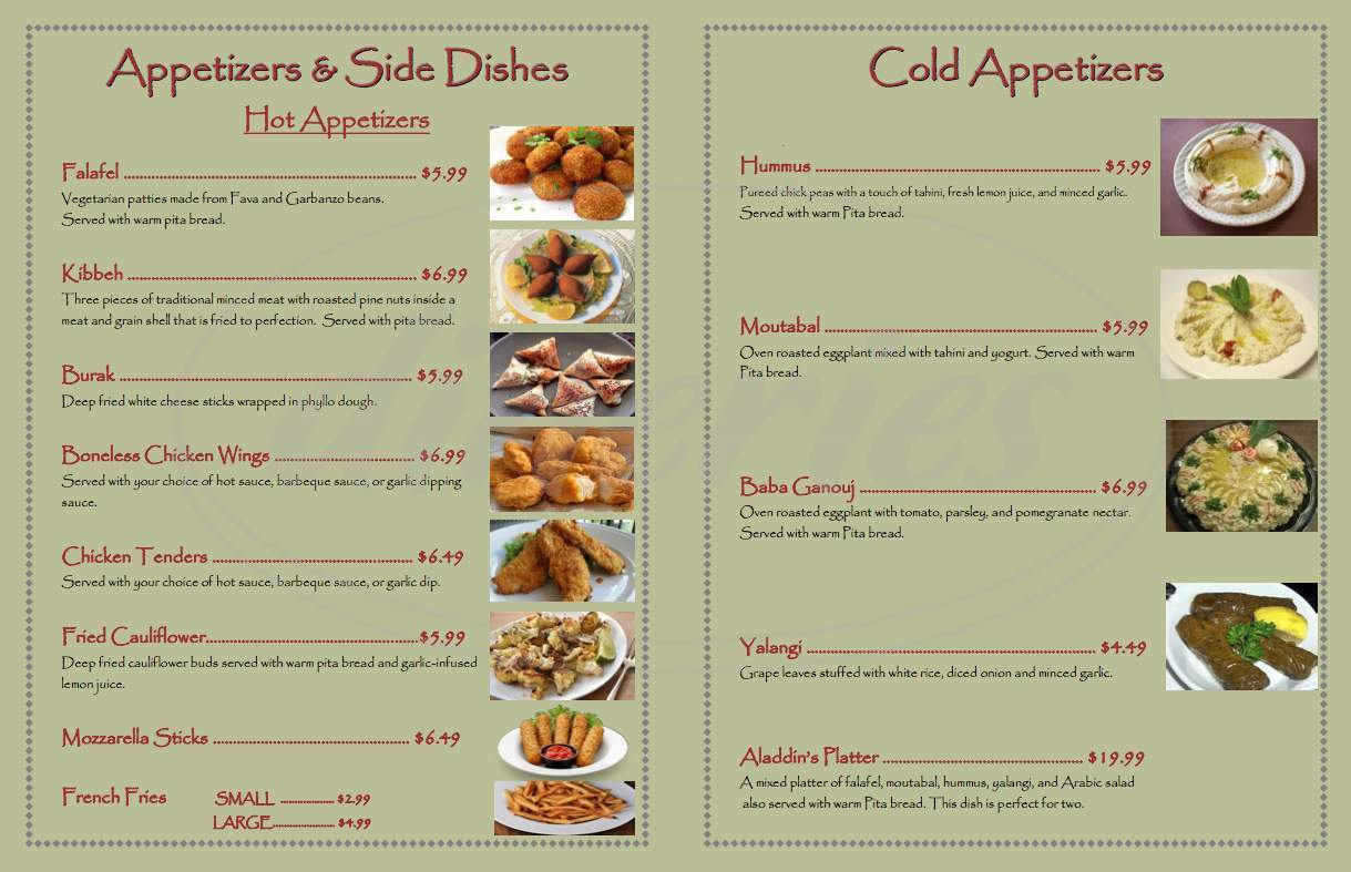 Big menu for Aladdin's Restaurant and Hookah Lounge, Amsterdam