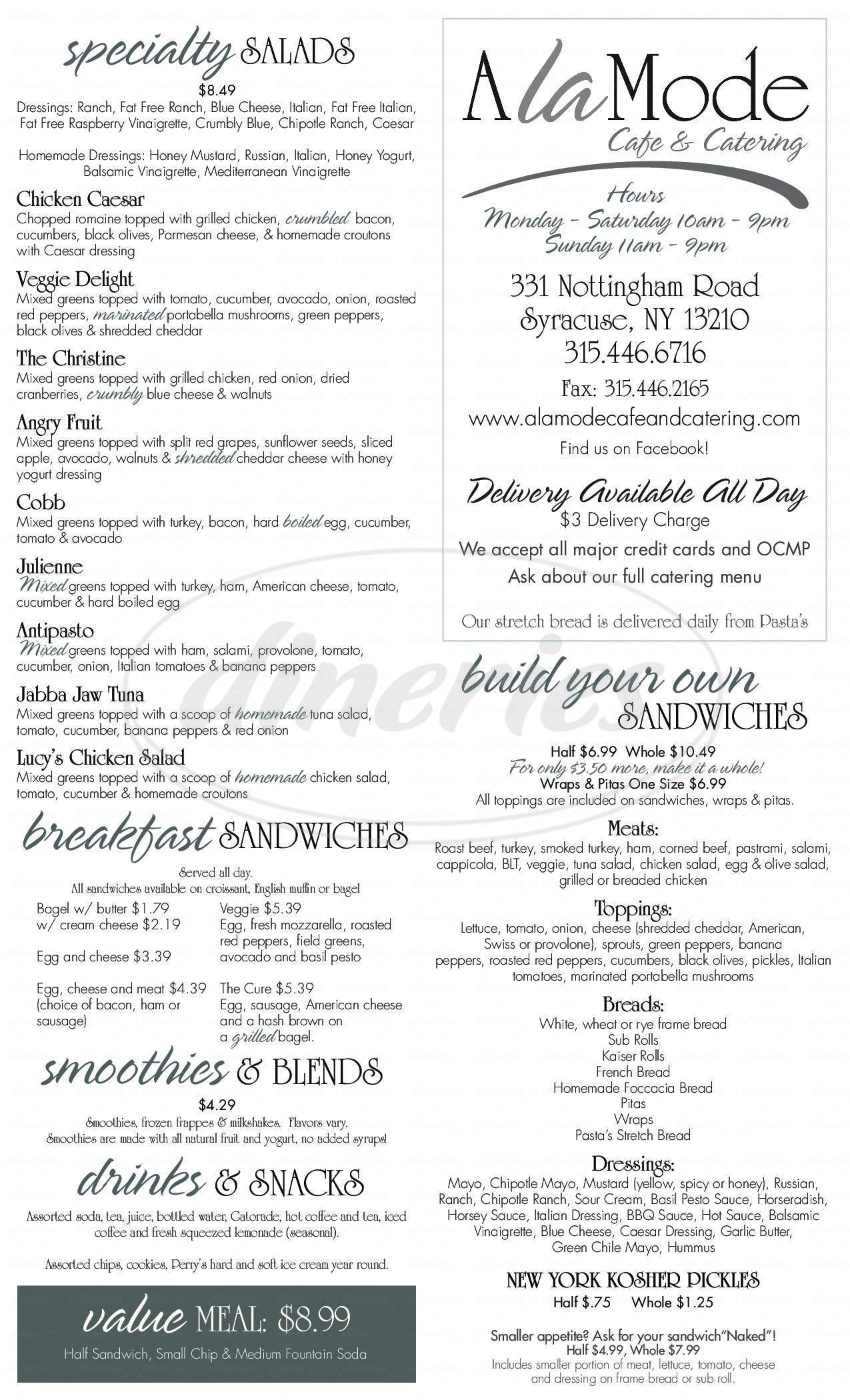menu for A La Mode Cafe & Catering