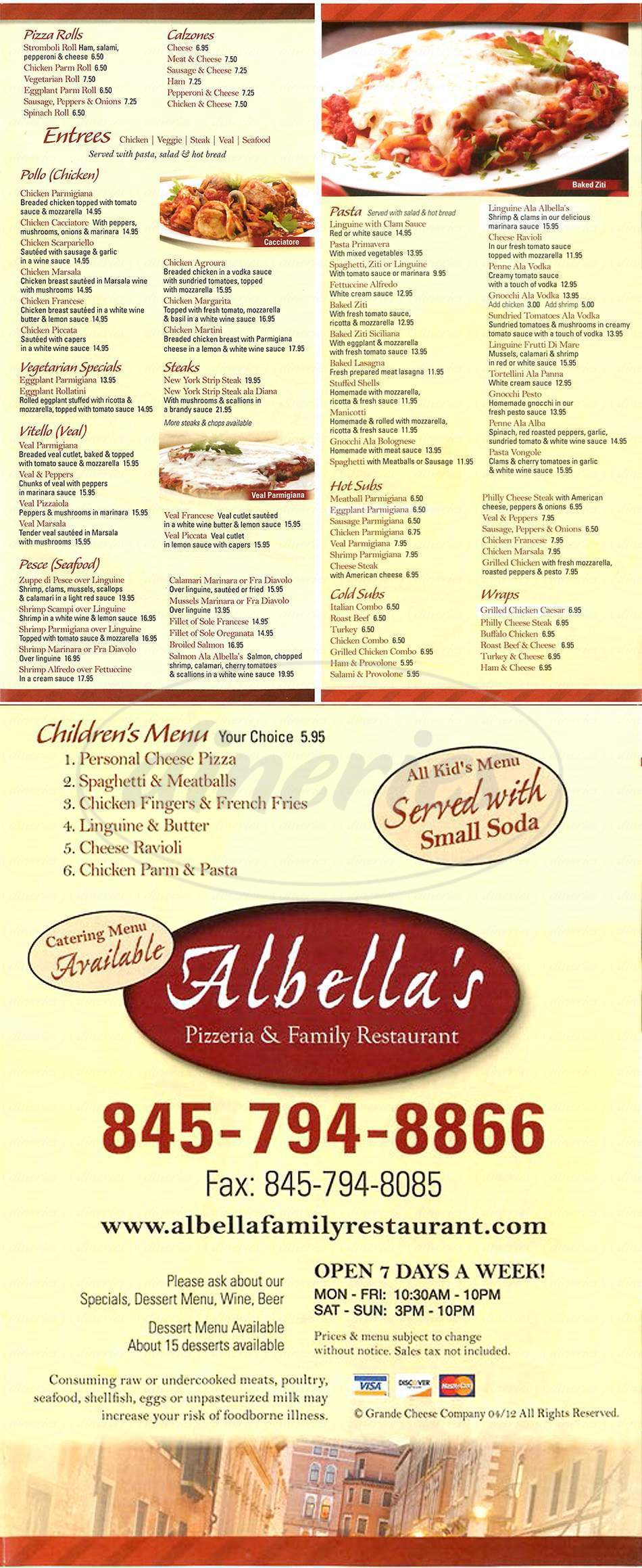 menu for Albella Pizza & Family Restaurant