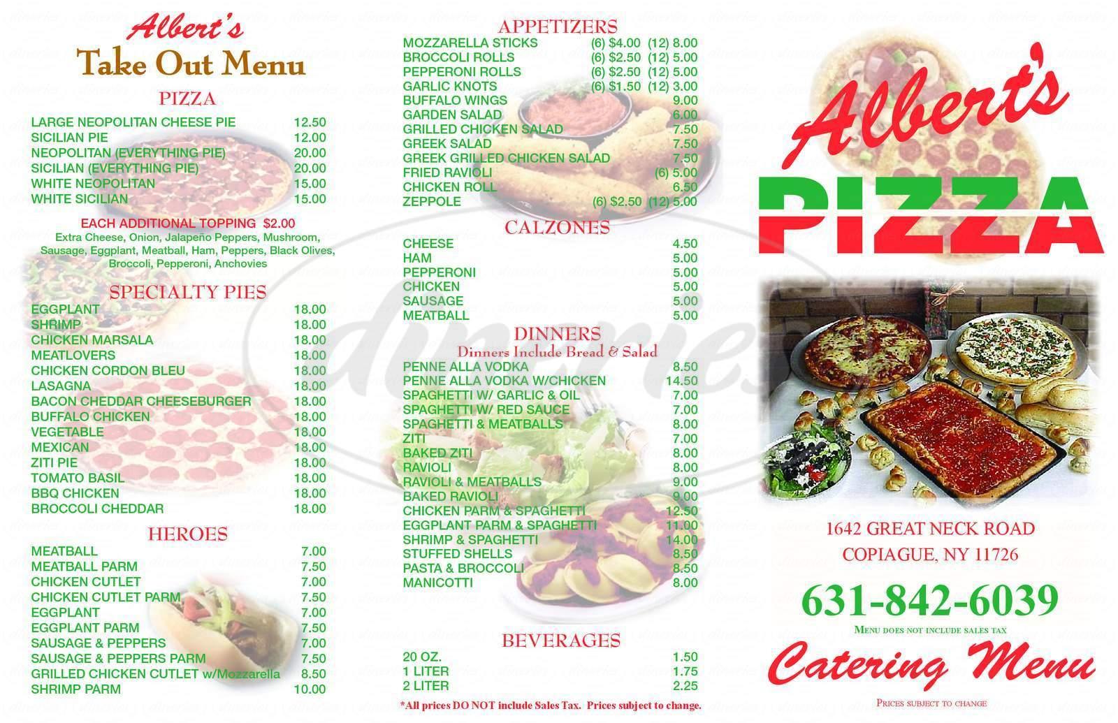 menu for Albert's Pizza Shop