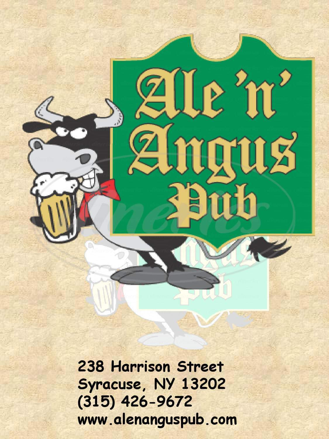 menu for Ale 'n' Angus Pub