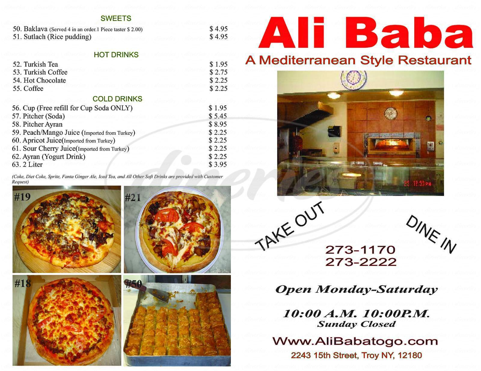 menu for Ali Baba