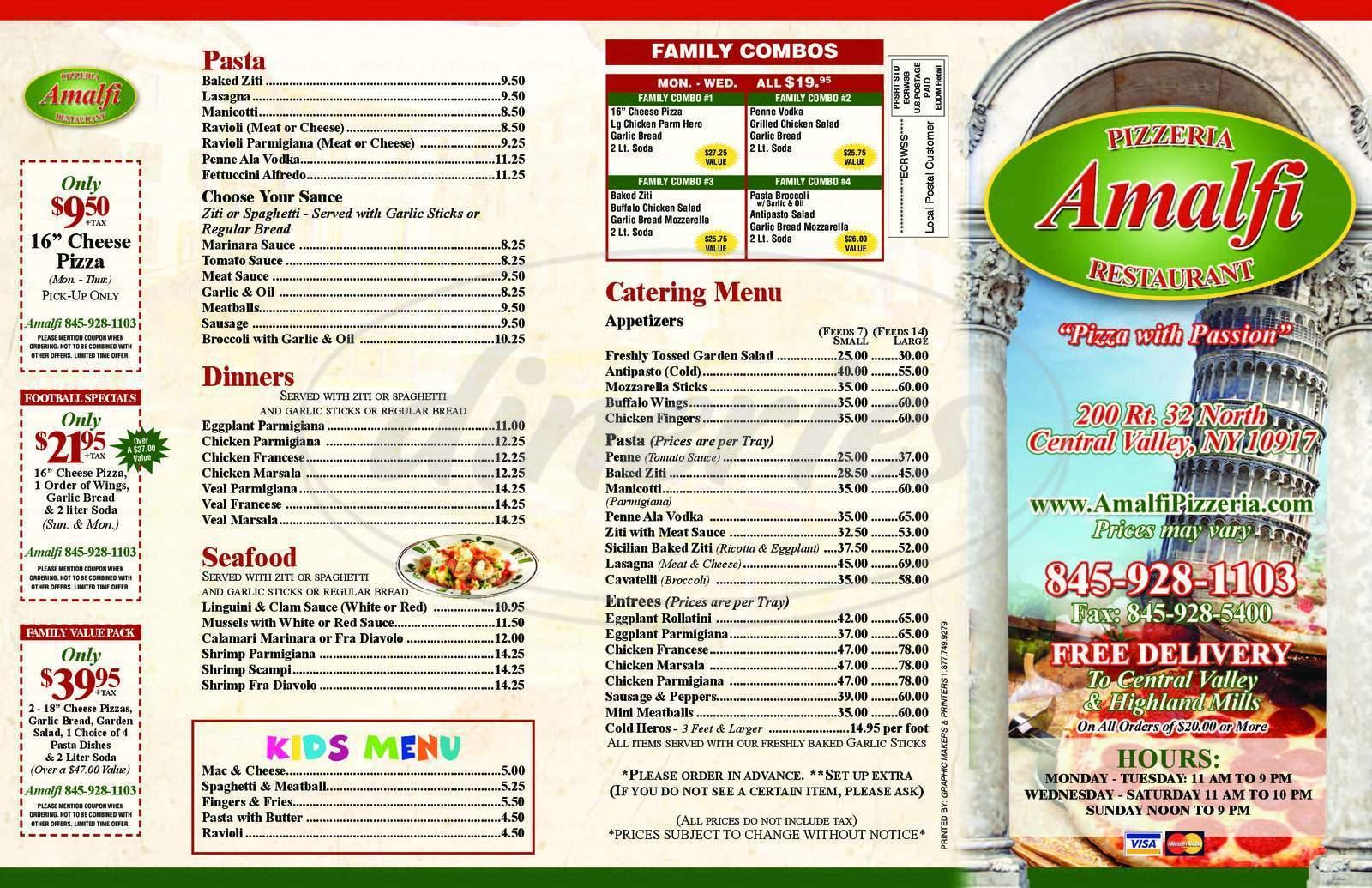 menu for Amalfi Pizzeria