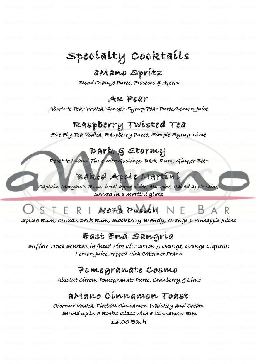 menu for aMano Osteria & Wine Bar